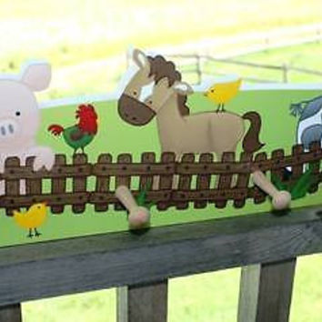 Farm Animal Wooden CLOTHES PEG Rack Bathroom Bedroom CR0011