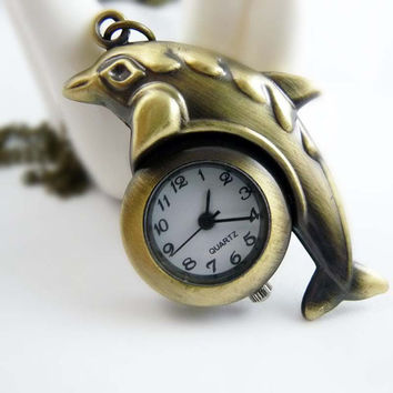 Cute Vintage Jumping Dolphin Shape Chain Pocket Watch