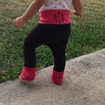 Custom made to order monogrammed pants with adjustable leg cuffs. Baby gifts, custom, handmade, one of a kind, personalized