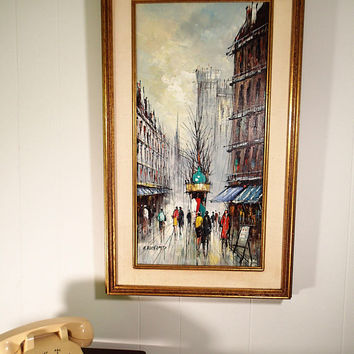 Original oil by H. Duchamp, Abstract Brutalist Paris Scene, Artistic Interiors Inc, stretched canvas gold toned wood frame with burlap.
