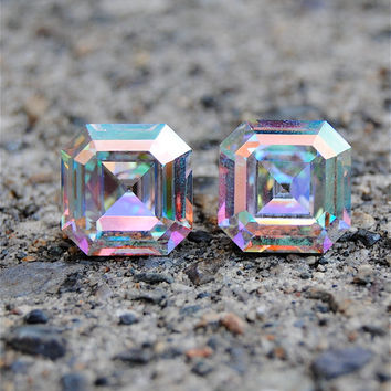 Aurora Borealis Vintage Super Sparklers Rare Light Rainbow Square Swarovski Crystal Stud Earrings