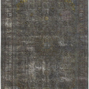 "9'4"" x 12'10"" Grey Turkish Overdyed Rug"