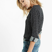 Optical Print Long Sleeve Henley from EXPRESS
