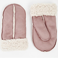 New Look Shearling Mittens in Pink