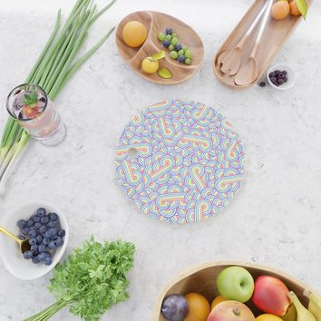 Rainbow and white swirls doodles Cutting Board by savousepate