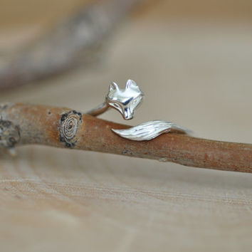 Fox Ring in Sterling Silver 925 / Sterling Silver Fox Ring / Wrap Around Fox Ring / Adjustable Ring / Nature Ring / Jamberjewel