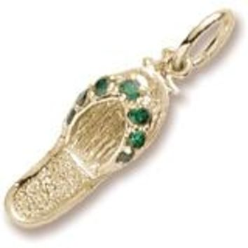 Emerald Green Sandal Charm in Yellow Gold Plated