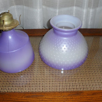 1950s Beautiful Rare Art Deco Purple Hob Nail Milk Glass Eagle Oil Lamp Parlor Lamp/Base N Shade/Lavender/Lilac/Purple Coloured Glass Lamp