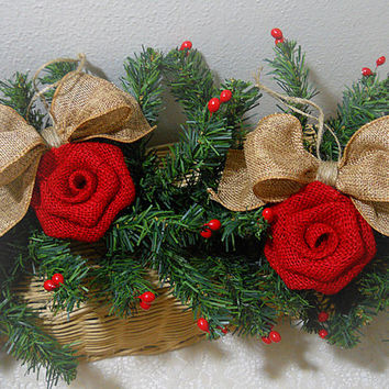 Ready to Ship! Set of 2 Red Burlap Rose Bow Christmas Ornaments handmade of burlap and twine. Will ship priority mail within 24 hours!