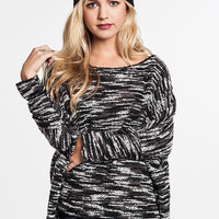 Achaia Dolman Sleeve Knit Sweater: Black and White