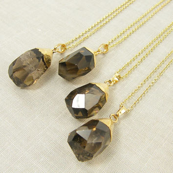 Smoky Quartz Necklace, Chunky Gemstone Necklace, Gold Dipped Quartz Pendant Necklace, Semiprecious Simple Minimalist Jewelry