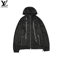 LV Louis Vuitton New fashion monogram print couple hooded long sleeve windbreaker Black