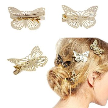 Golden Butterfly Hair Clip Headband Hair Accessories Headpiece Hairpins hair accessories cute causual party  wear Free Shipping