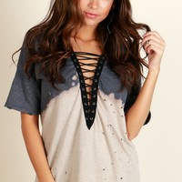 Power Trip Lace Up Top Grey/Oatmeal