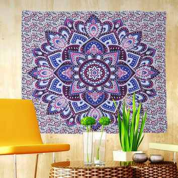 Purple and Blue Lotus Floral Tapestry