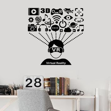 Vinyl Wall Decal Virtual Reality VR Headset User Gamer Player Art Stickers Mural (ig5499)