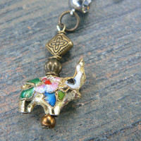 Lucky elephant belly ring GOLD cloisonne sacred elephant belly dancer zen yoga boho hipster fantasy  tribal fusion style