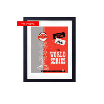 1948 World Series Cleveland Indians vs Boston Braves Art Vintage Program Cover Art Gift Print for Man Cave