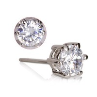 Fashion Plaza 18k White Gold Plated Use Clear Use Austrian Crystal Stud Earring E52