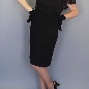 Vintage 1950s 60s Black Lace Cape Sleeve Dress Party Cocktail Wiggle Mad Men Robert Gould Elegant Mod Vogue Couture Fitted Avant Garde