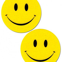 Smiley Face Yellow Pasties O/S
