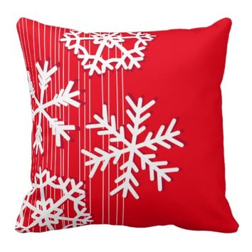 Modern red and white Christmas white snowflakes Pillows