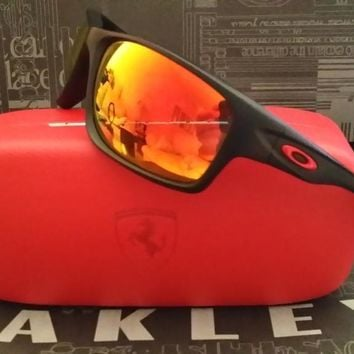New Oakley Polarized Canteen Ferrari Sunglasses Matte Black/Ruby Iridium $260
