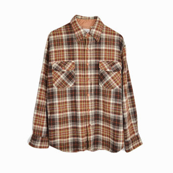 Vintage 70s Brown Plaid Button Down Wool Shirt