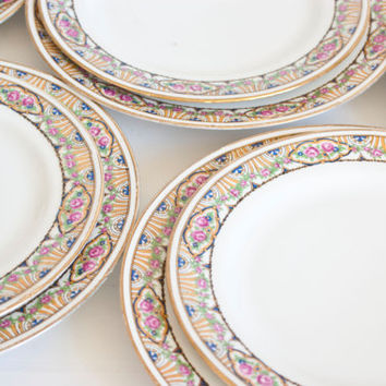 Antique French Dinnerware, J Pouyat Limoges Dinnerware, JP France, Set 12, 6 Place Setting, Luncheon and Dessert Plates, Vintage Tablescapes