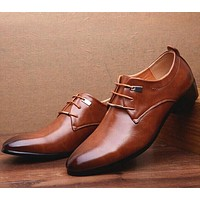 Size 38~46 Men Shoes Brown Oxfords Dress Shoes For Men Lace Up Gentry Business Men Shoes Solid Black Pu Leather Shoes Men