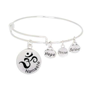 Believe Dream Hope Expandable Charm Bangle Namaste-Om