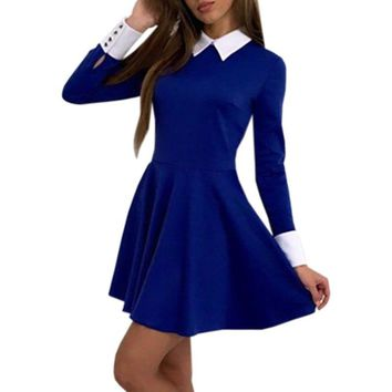 Kawaii Long Sleeve Preppy Dress Women Autumn Mini Shirt Dress Flared Turn-Down Collar Casual Office Work Dresses GV445