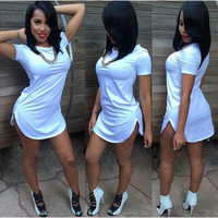 Summer Sexy Women Tops Short Sleeve Side Slit Casual  Party Mini Dress S,M,L,XL = 1827687108
