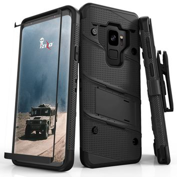 Zizo Bolt Case for Samsung Galaxy S9 - 12 ft. Military Grade Drop Tested + Curved Full Glass Screen Protector