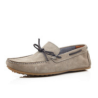 River Island MensStone suede driving shoes