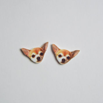 Chihuahua Puppy Stud Post Earrings Novelty Gift