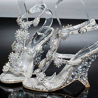 Evening Prom Party Dresses Lady Bridal Wedding Shoes Female Wedge Heel Sandals banquet princess diamond crystal shoes