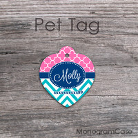Pink quatrefoil navy zig-zag turquoize heart tag
