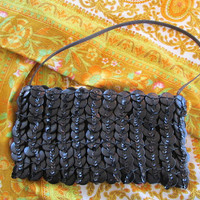 Button sequin trim handbag evening bag black vintage.