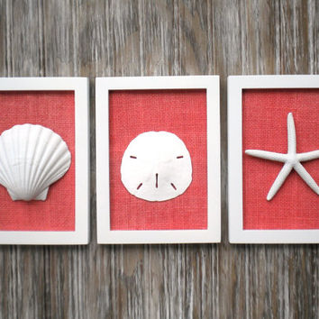 Cottage Chic Set of Beach Wall Art, Nautical Decor, Beach House Wall Decor, Sea Shell Art, Beach Decor, Coastal Art, WHITE with CORAL Burlap