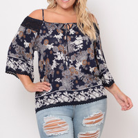 Plus Size Floral Print Crochet Trim Top- Navy