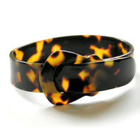 Vintage Cuff Bracelet Faux Tortoise Shell Plastic Buckle Bangle Gold Black Tortoiseshell