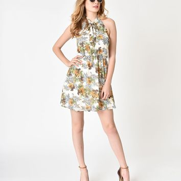 Retro Style Ivory & Mustard Floral Print Fit & Flare Dress