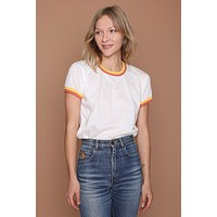 Double Trouble Ringer Tee - Vintage White W/Sunshine