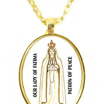 Our Lady of Fatima Saint of Peace Huge 30x40mm Bright Gold Pendant with Chain Necklace