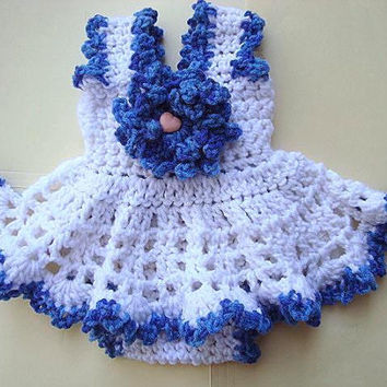 Crochet Pattern - Baby Girl Dress - Newborn to age 4, Diaper Cover, Flower, Easy, Optional picot edge, children's clothing, sundress set
