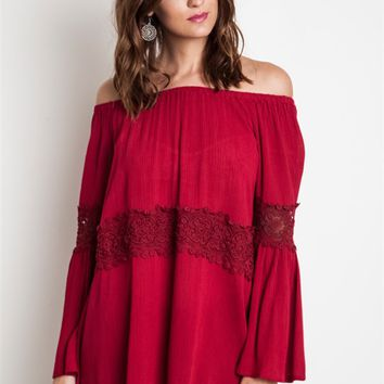 Umgee Burgundy Off-Shoulder Blouse with Lace Inserts