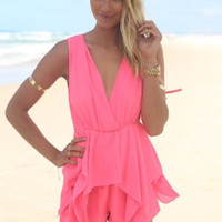 Sleeveless Deep V  Neck Elsatic Waist Romper