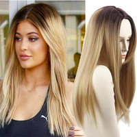 "Blonde Ombre Wig Synthetic Wigs Jenner Hair Style False Hair for Black Women 26"" Long Straight Blonde Wigs Female Hair"