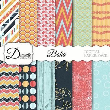 Instant Download-Boho Bohemian Hippie Cottage Shabby Chic Coral Yellow Blue Navy Digital Scrapbooking Paper Pack Personal and Commercial Use